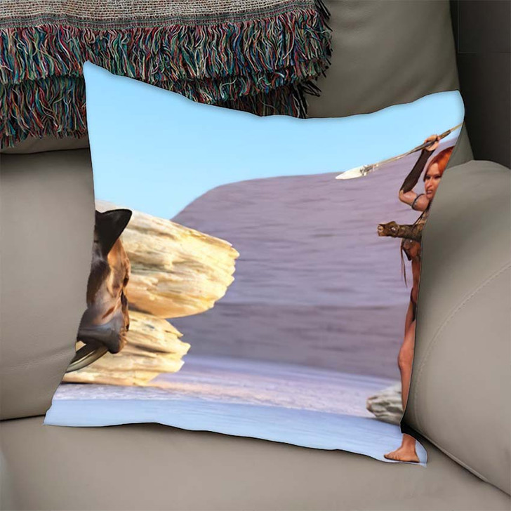 3D Illustration Fantasy Cave Girl Armed - Hunting and Fishing Linen Throw Pillow