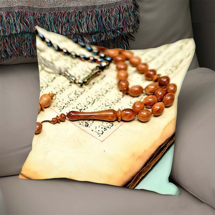 200 Years Ancient Hand Scripted Koran - Islamic Linen Throw Pillow