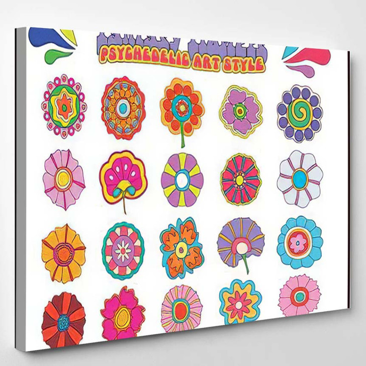 Fantasy Flowers Psychedelic Hippie Art Style - Psychedelic Canvas Wall Decor