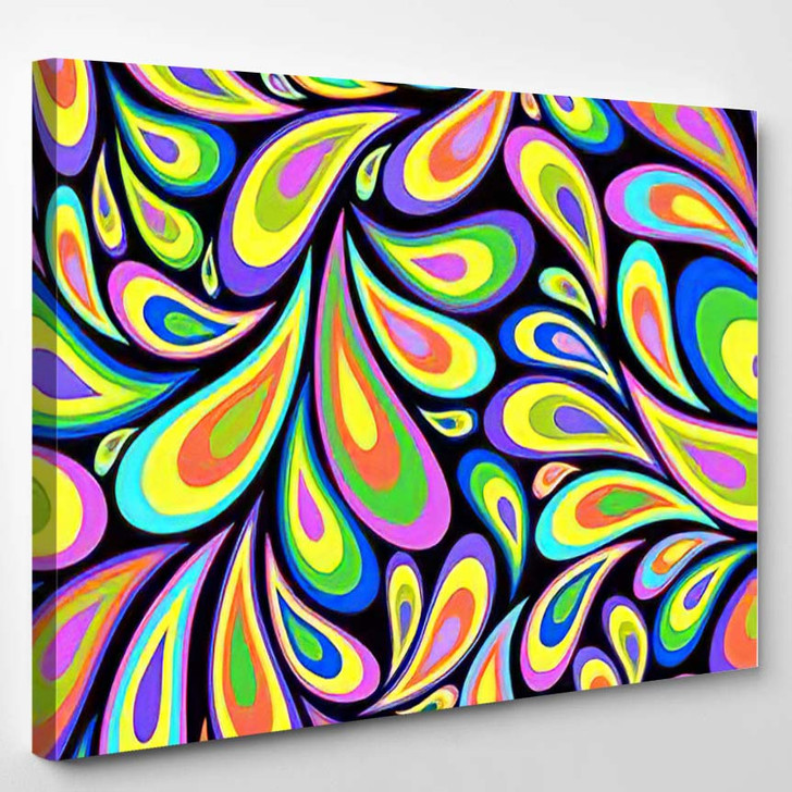 Illustration Abstract Seamless On Black Background - Psychedelic Canvas Wall Decor