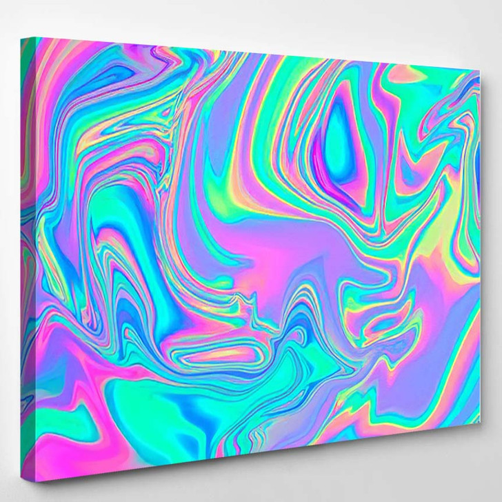 Iridescent Marbled Holographic Texture Vibrant Neon 1 - Psychedelic Canvas Wall Decor