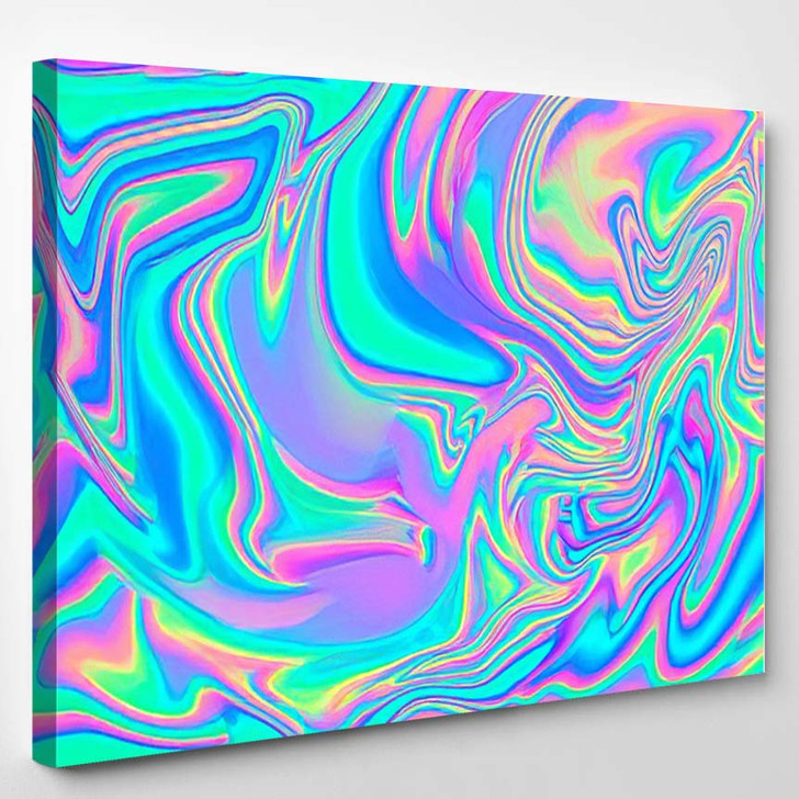 Iridescent Marbled Holographic Texture Vibrant Neon 2 - Psychedelic Canvas Wall Decor