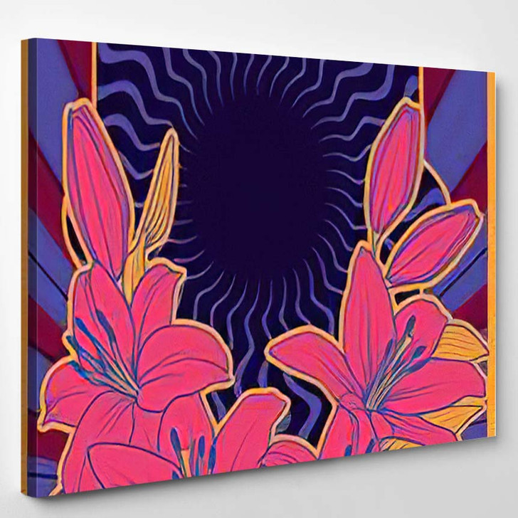 Lily Flowers Psychedelic Background 1960S 1970S - Psychedelic Canvas Wall Decor