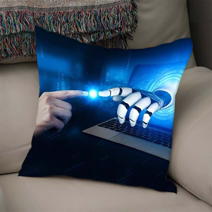 3D Rendering Artificial Intelligence Ai Research 4 - Creation of Adam Linen Throw Pillow
