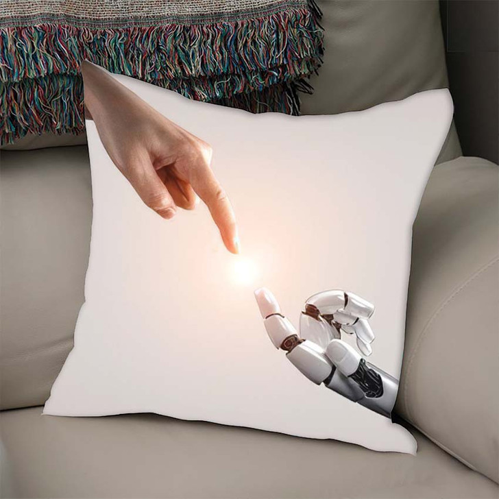 3D Rendering Artificial Intelligence Ai Research 12 - Creation of Adam Linen Throw Pillow