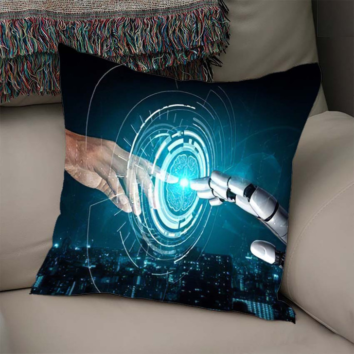 3D Rendering Artificial Intelligence Ai Research 17 - Creation of Adam Linen Throw Pillow