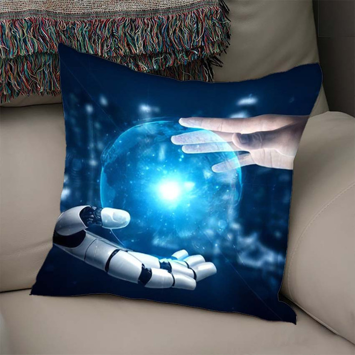 3D Rendering Artificial Intelligence Ai Research 18 - Creation of Adam Linen Throw Pillow