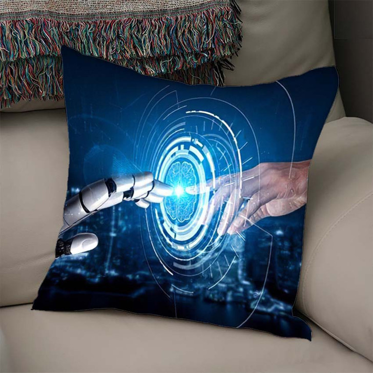 3D Rendering Artificial Intelligence Ai Research 26 - Creation of Adam Linen Throw Pillow