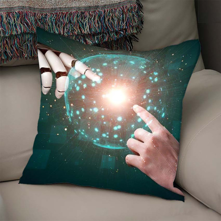 3D Rendering Artificial Intelligence Ai Research 27 - Creation of Adam Linen Throw Pillow