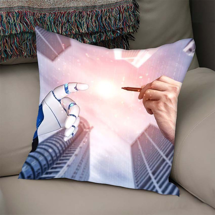 3D Rendering Artificial Intelligence Ai Research 29 - Creation of Adam Linen Throw Pillow