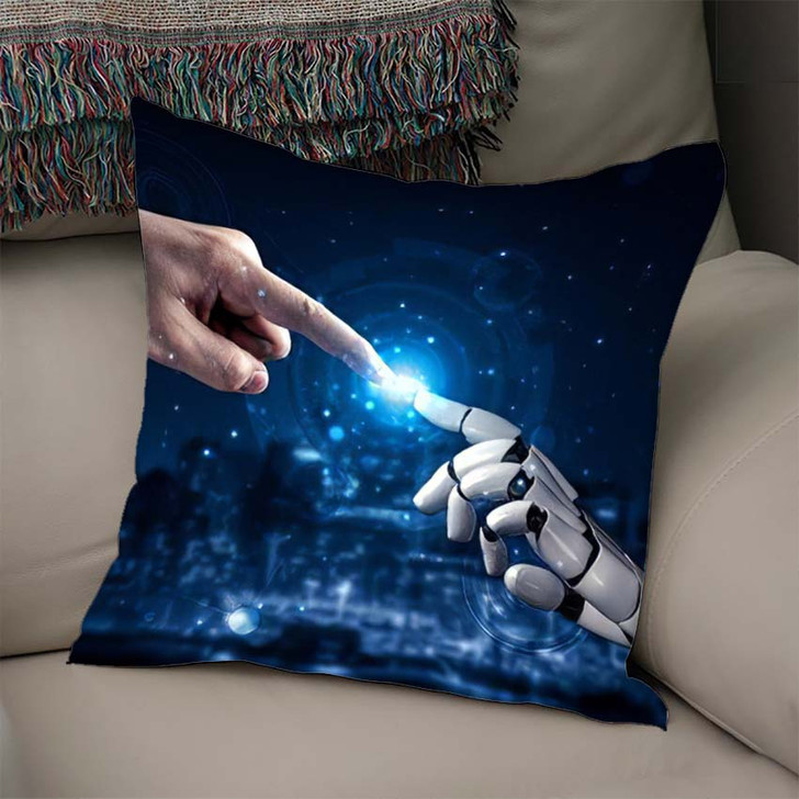 3D Rendering Artificial Intelligence Ai Research 30 - Creation of Adam Linen Throw Pillow