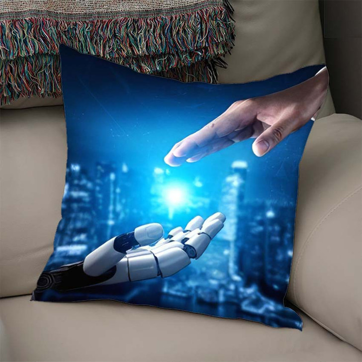 3D Rendering Artificial Intelligence Ai Research 31 - Creation of Adam Throw Pillow