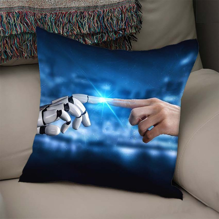 3D Rendering Artificial Intelligence Ai Research 33 - Creation of Adam Linen Throw Pillow