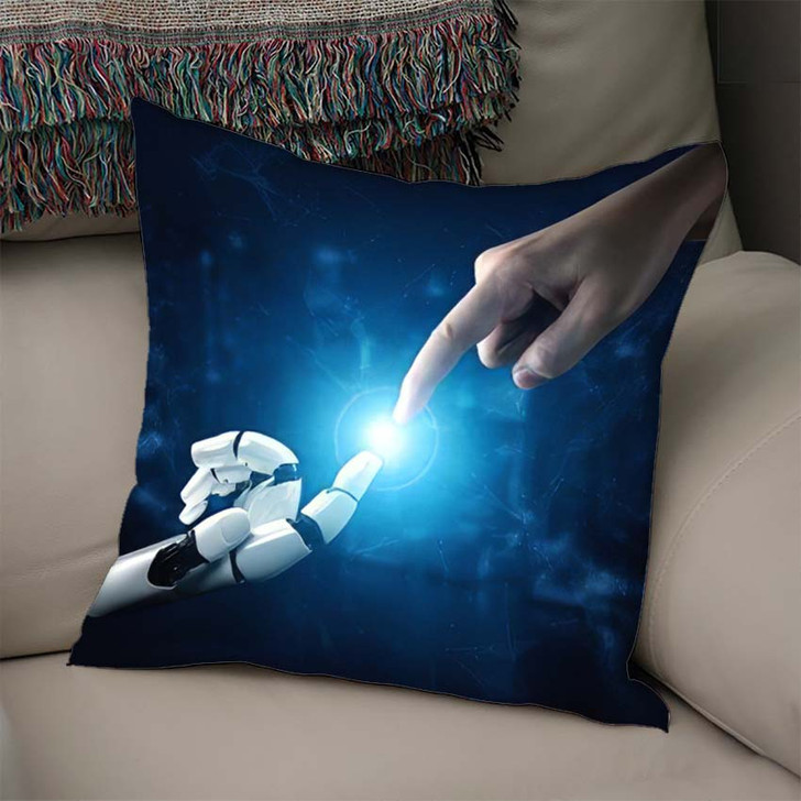 3D Rendering Artificial Intelligence Ai Research 37 - Creation of Adam Linen Throw Pillow