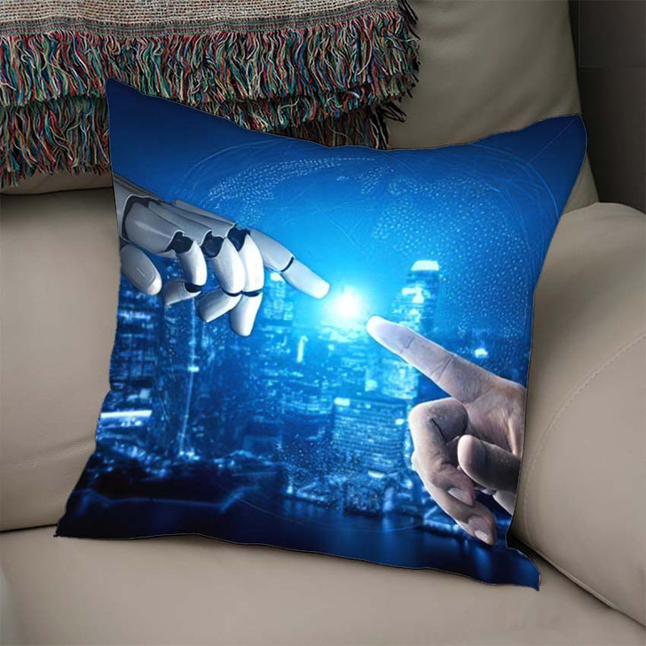 3D Rendering Artificial Intelligence Ai Research 38 - Creation of Adam Throw Pillow