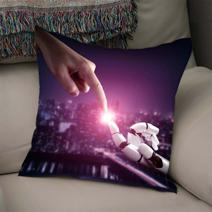 3D Rendering Artificial Intelligence Ai Research 43 - Creation of Adam Linen Throw Pillow