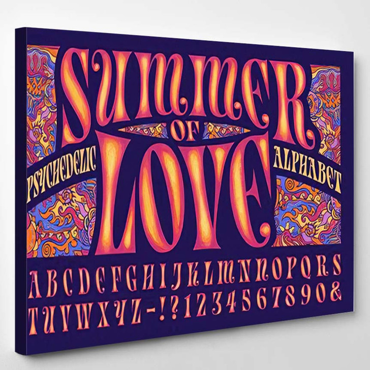 Psychedelic Alphabet Design This Font Style - Psychedelic Canvas Wall Decor