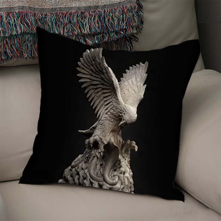 3D Composite Illustration Eagle Fighting Snake - Eagle Animals Throw Pillow