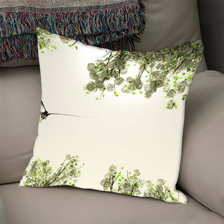 3D Illustration Eagle Flying Among Flowers - Eagle Animals Linen Throw Pillow