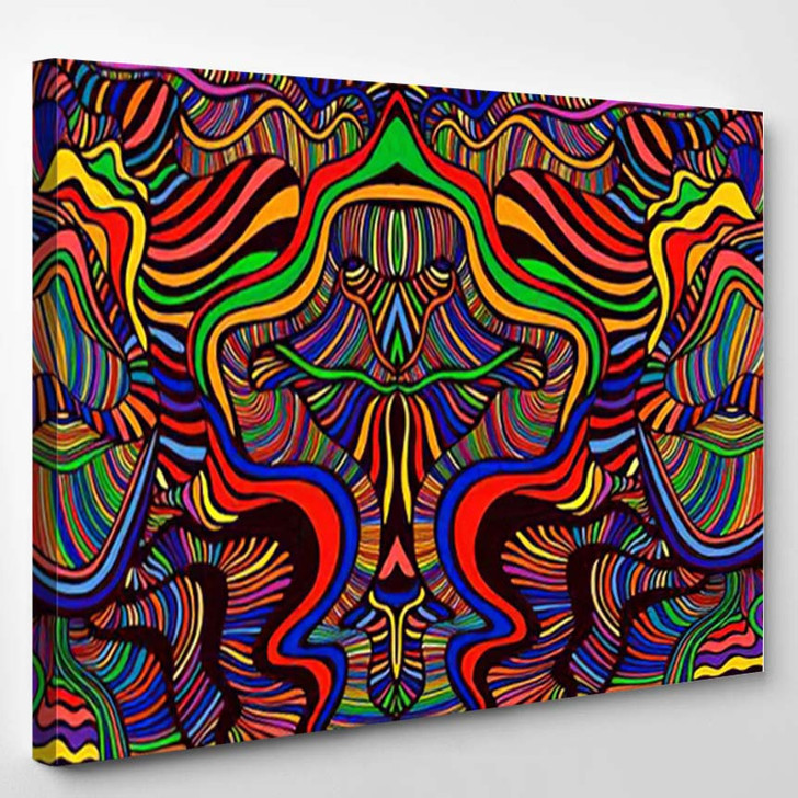 Psychedelic Mirror Abstract Maze Wavy Ornaments - Psychedelic Canvas Wall Decor