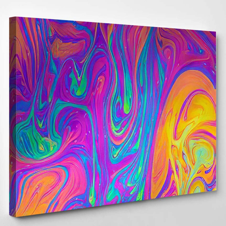 Psychedelic Multicolored Soap Bubble Abstract Background - Psychedelic Canvas Wall Decor