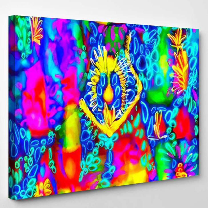 Psychedelic Pattern Bright Neon Forms Ultraviolet - Psychedelic Canvas Wall Decor