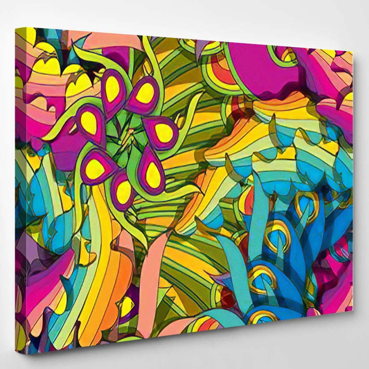 Psychedelic Seamless Pattern Eps10 2 - Psychedelic Canvas Wall Decor