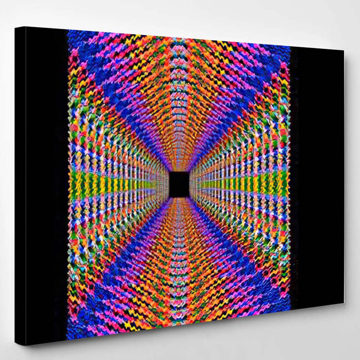 Psychedelic Square Design Made Repeated Concentric - Psychedelic Canvas Wall Decor