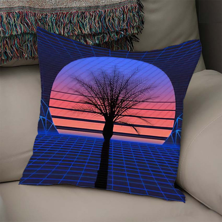 1980S Retro Futuristic Background Sunset Laser 1 - Galaxy Sky and Space Linen Throw Pillow