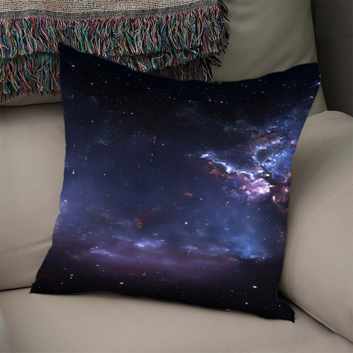 360 Degree Space Nebula Panorama Equirectangular 1 - Galaxy Sky and Space Linen Throw Pillow
