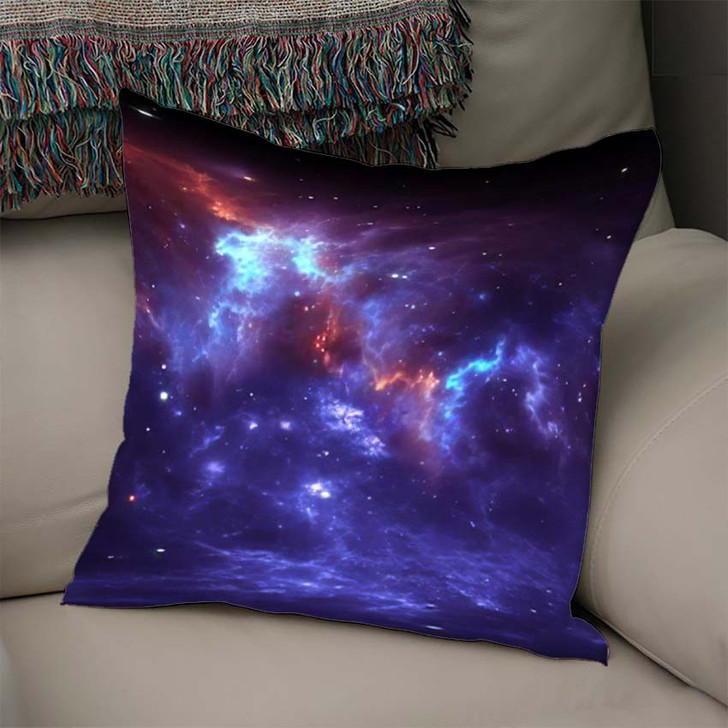360 Degree Space Nebula Panorama Equirectangular 2 - Galaxy Sky and Space Linen Throw Pillow