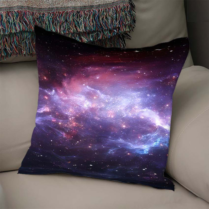 360 Degree Space Nebula Panorama Equirectangular 5 - Galaxy Sky and Space Linen Throw Pillow