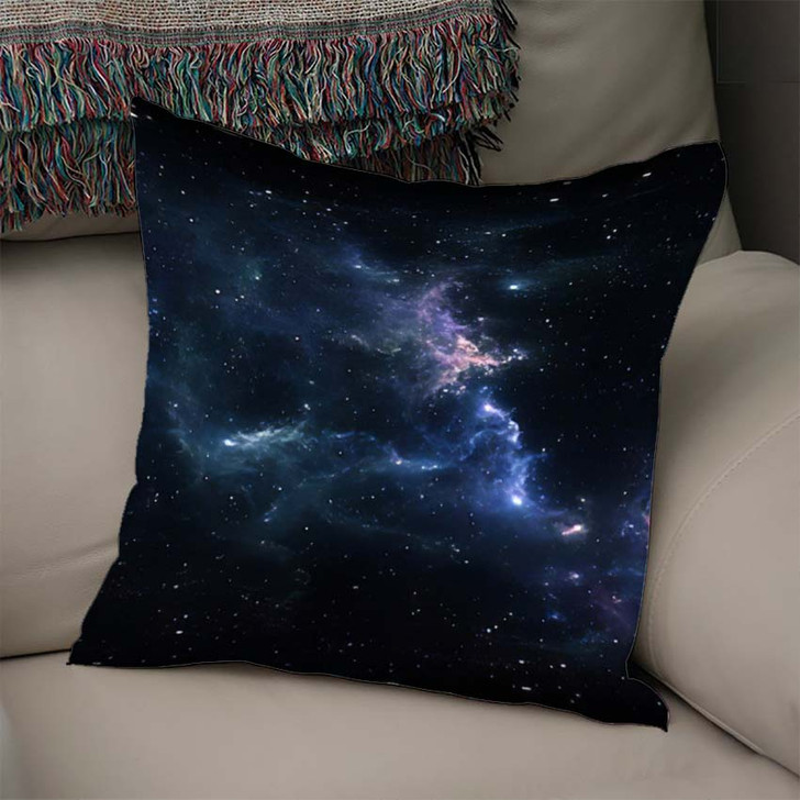 360 Degree Space Nebula Panorama Equirectangular 6 - Galaxy Sky and Space Linen Throw Pillow