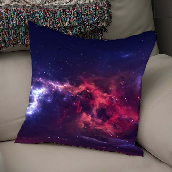 360 Degree Space Nebula Panorama Equirectangular 7 - Galaxy Sky and Space Linen Throw Pillow