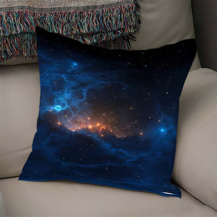 360 Degree Stellar System Nebula Panorama - Galaxy Sky and Space Linen Throw Pillow
