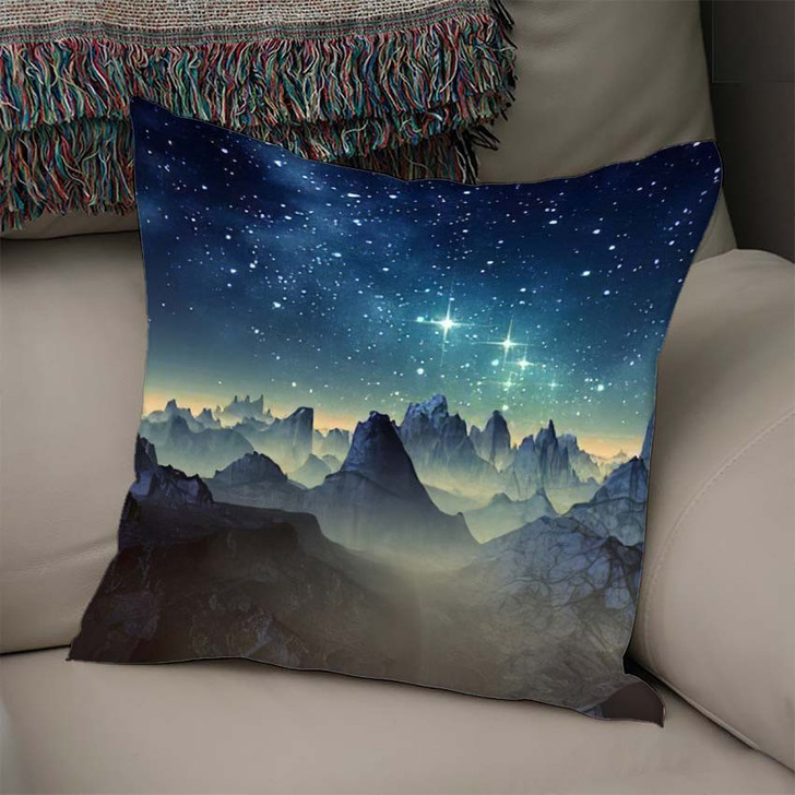 3D Created Rendered Fantasy Alien Planet 1  1 - Galaxy Sky and Space Linen Throw Pillow