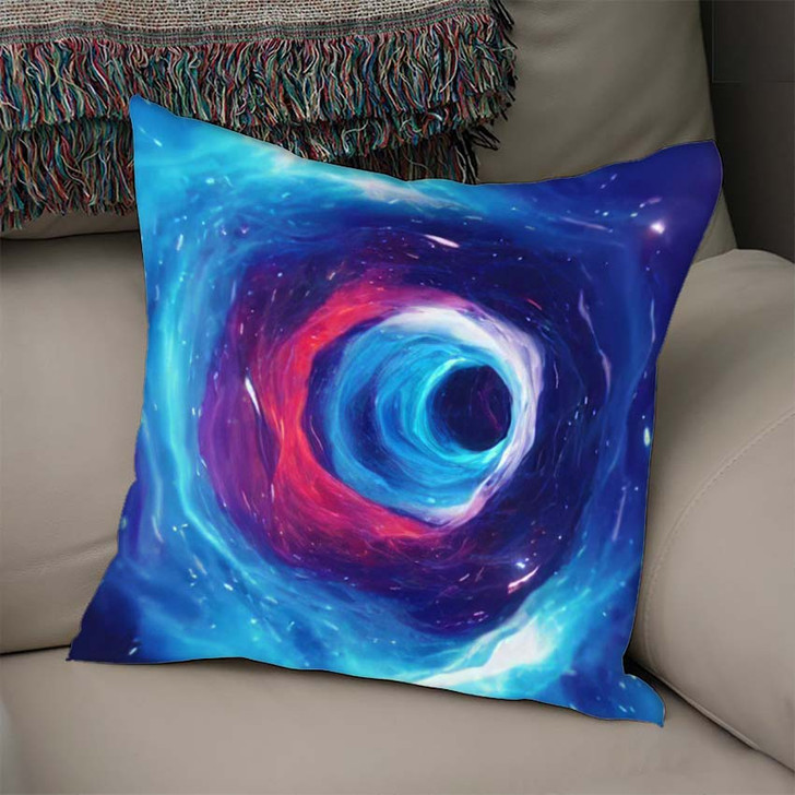 3D Illustration Tunnel Wormhole That Can - Galaxy Sky and Space Linen Throw Pillow
