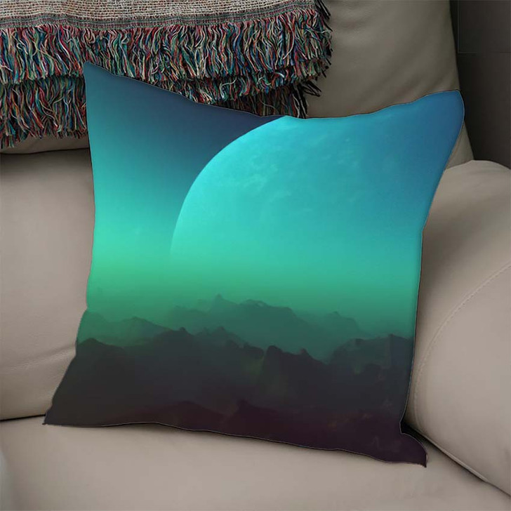 3D Rendered Space Art Alien Planet - Galaxy Sky and Space Linen Throw Pillow