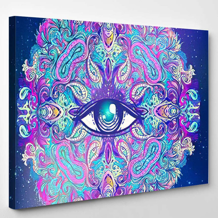 Sacred Geometry Symbol All Seeing Eye 8 - Psychedelic Canvas Wall Decor