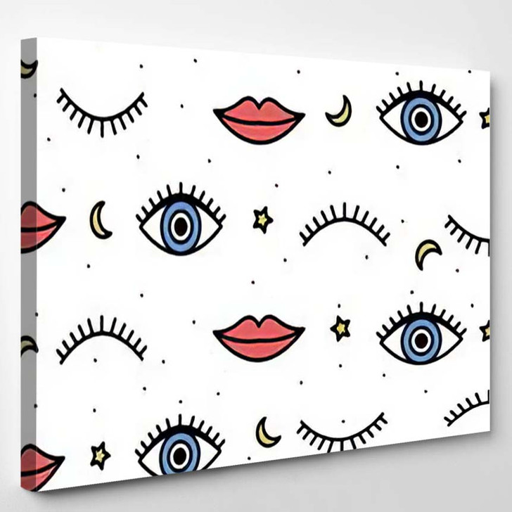 Seamless Pattern Style Psychedelic Eyes His 1 - Psychedelic Canvas Wall Decor