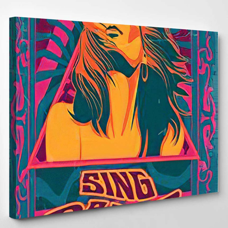Sing Dance Love Psychedelic Art Poster - Psychedelic Canvas Wall Decor