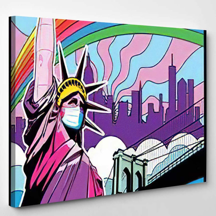 Statue Liberty Surgical Mask Coronavirus Prhphylaxis - Psychedelic Canvas Wall Decor