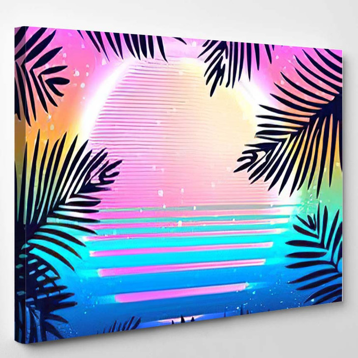 Summer Party Holiday Background Vector Illustration - Psychedelic Canvas Wall Decor