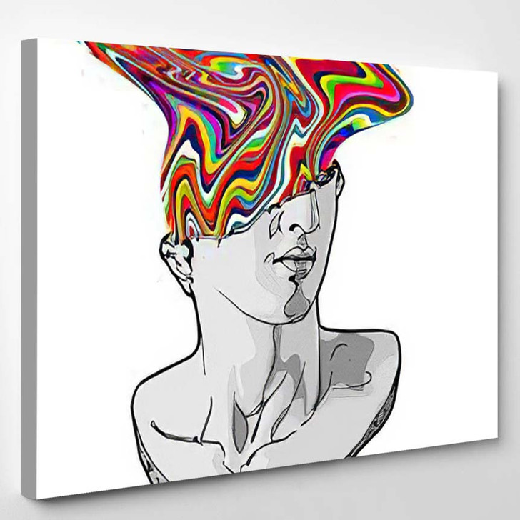 Vector Hand Drawn Illustration Classical Sculpture - Psychedelic Canvas Wall Decor