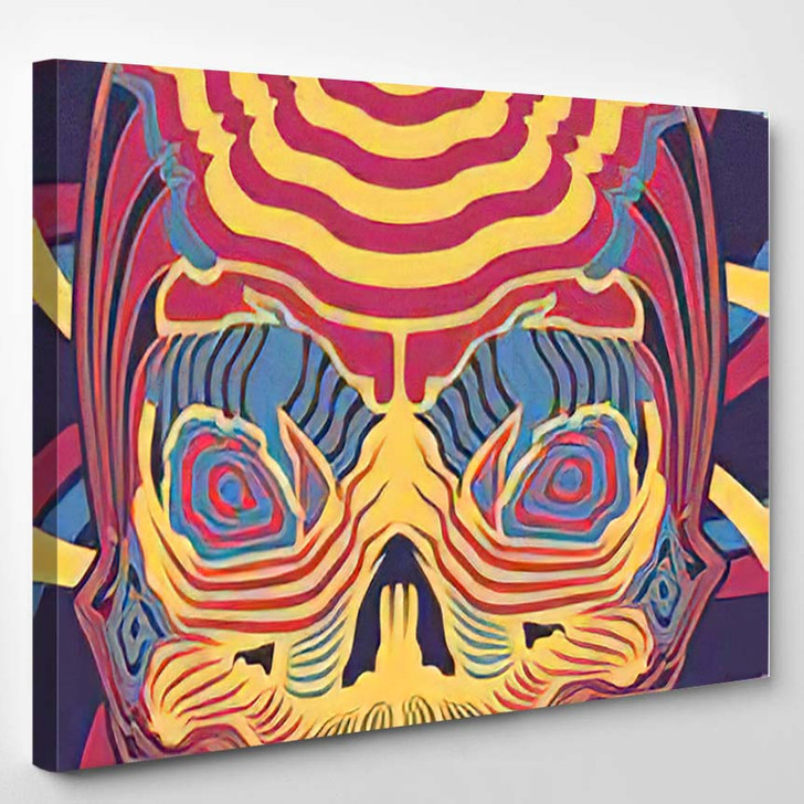 Vector Illustration Dayglow Neon Psychedelic Skull - Psychedelic Canvas Wall Decor