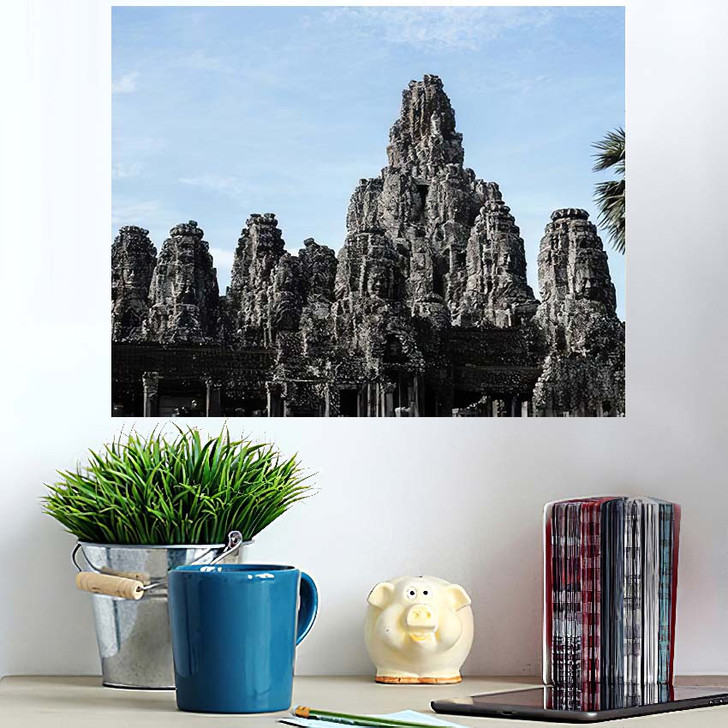 1 September 2019 Siemreap Cambodia Bayon - Landmarks and Monuments Wall Art Poster
