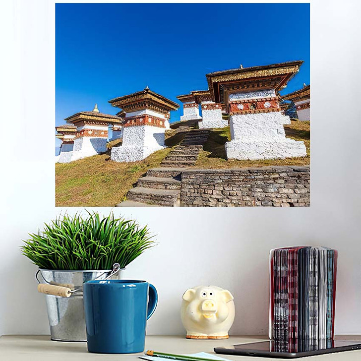 108 Chortens Druk Wangyal On Dochula - Landmarks and Monuments Wall Art Poster
