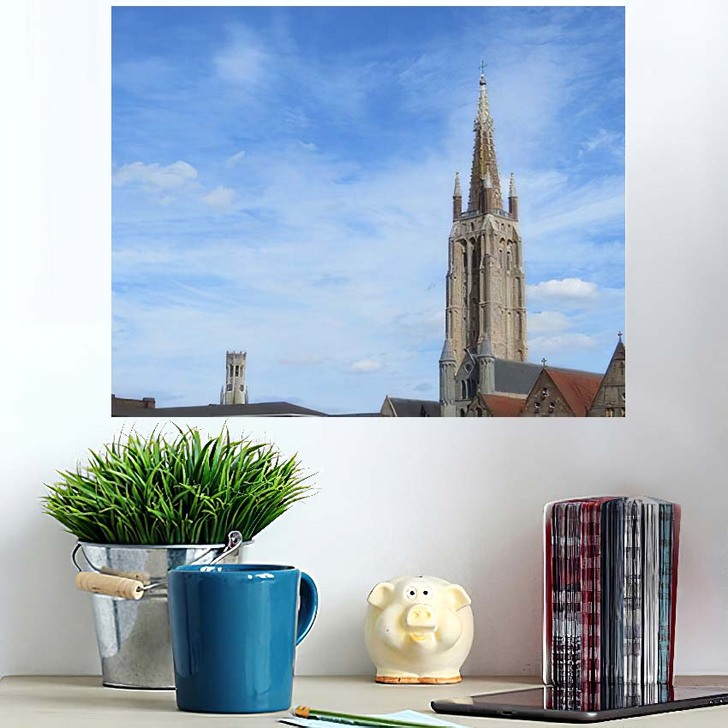 1155 Metres High Brick Tower Church - Landmarks and Monuments Wall Art Poster