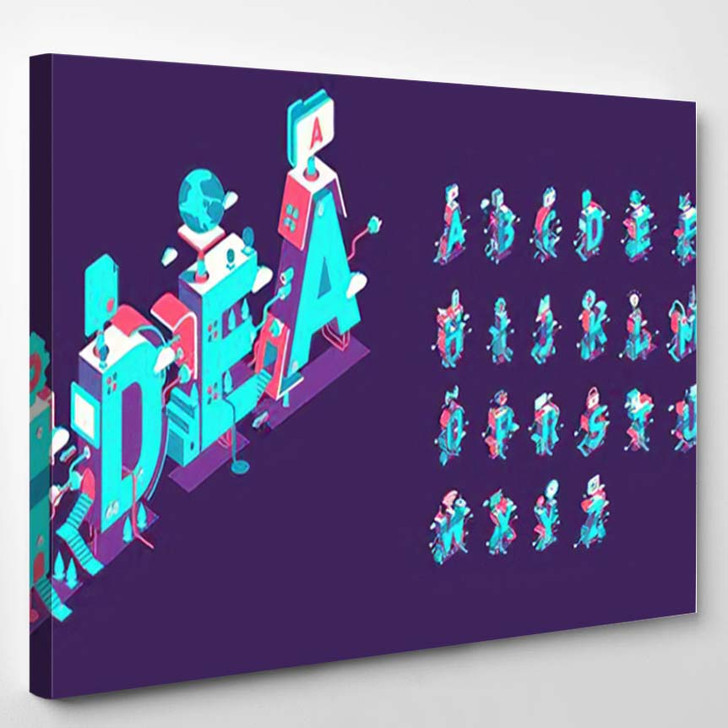 Vector Isometric Abstract Font Alphabet 3D - Psychedelic Canvas Wall Decor