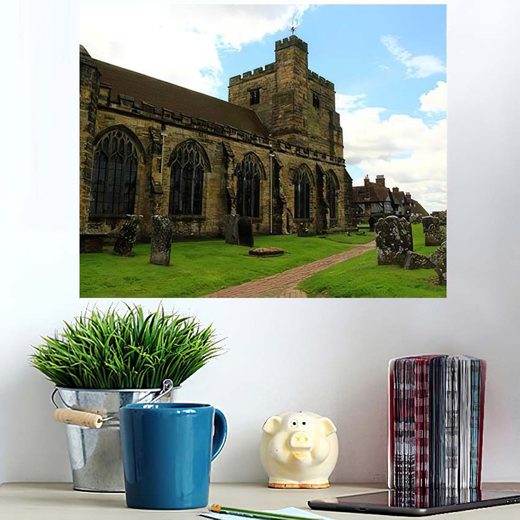 14Th Century St Marys Church Old - Landmarks and Monuments Wall Art Poster